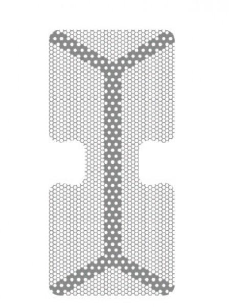 HM-01-02 Титановая мембрана (сетка) шестигранная ячейка с усиленным каркасом 14х30, толщина 0,1мм, Ø отверстия 0,36